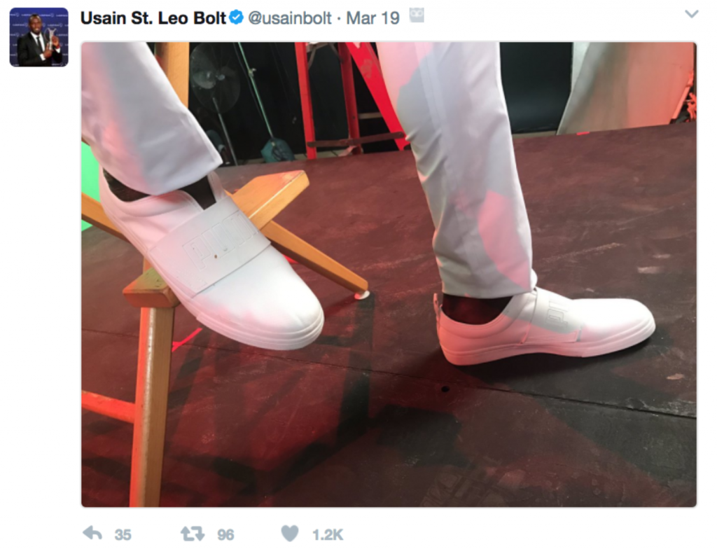 Usain Bolt Tweet Shoe Placement