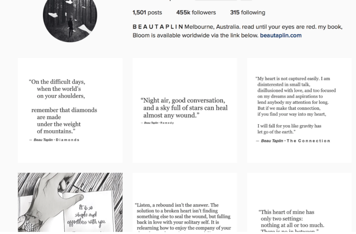 Example of Beau Taplin's Instagram page