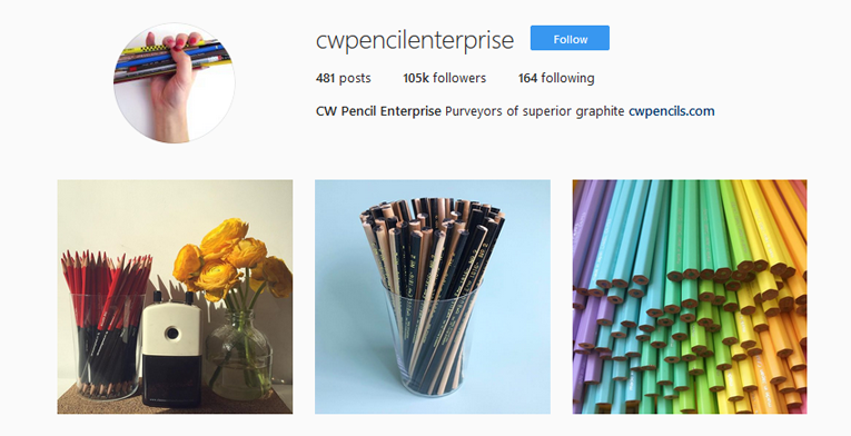 CW Pencil Instagram self-promotion