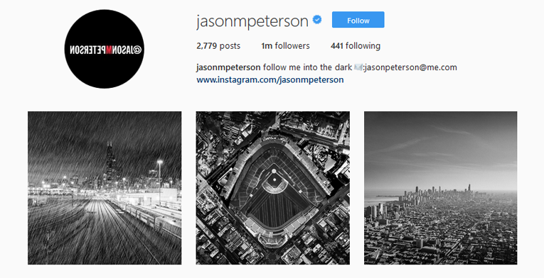 Jason Peterson's striking black and white demands attention