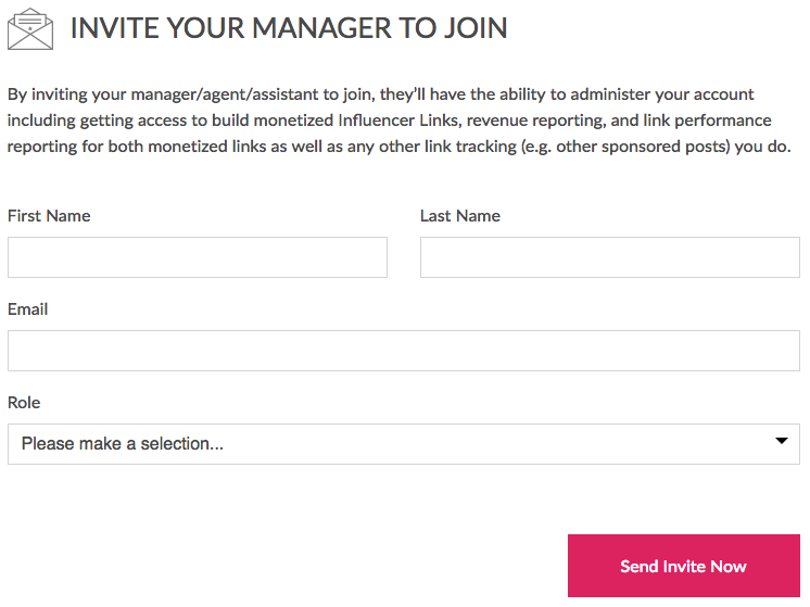 Invite manager to join influencer