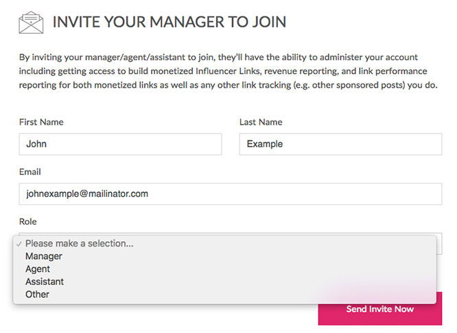 Invite Manager to join influencer filled
