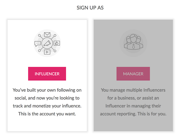 Sign up as Influencer or Manager