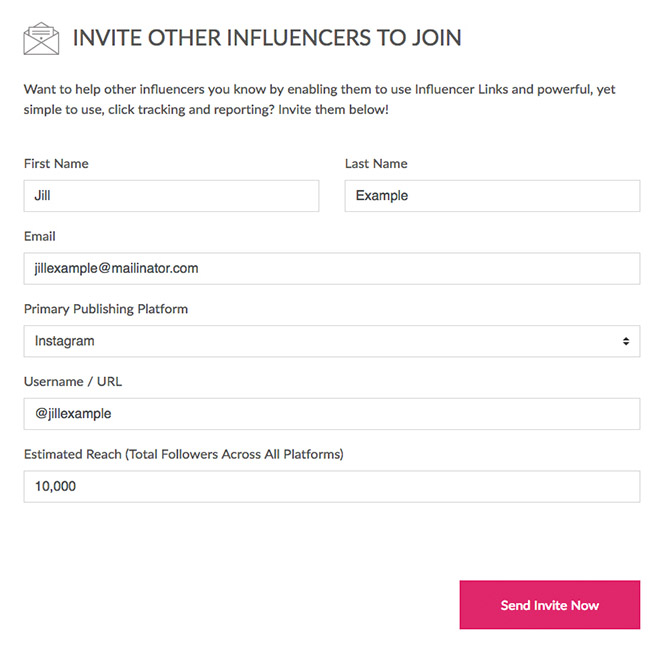 Invite Other Influencers to join influencer